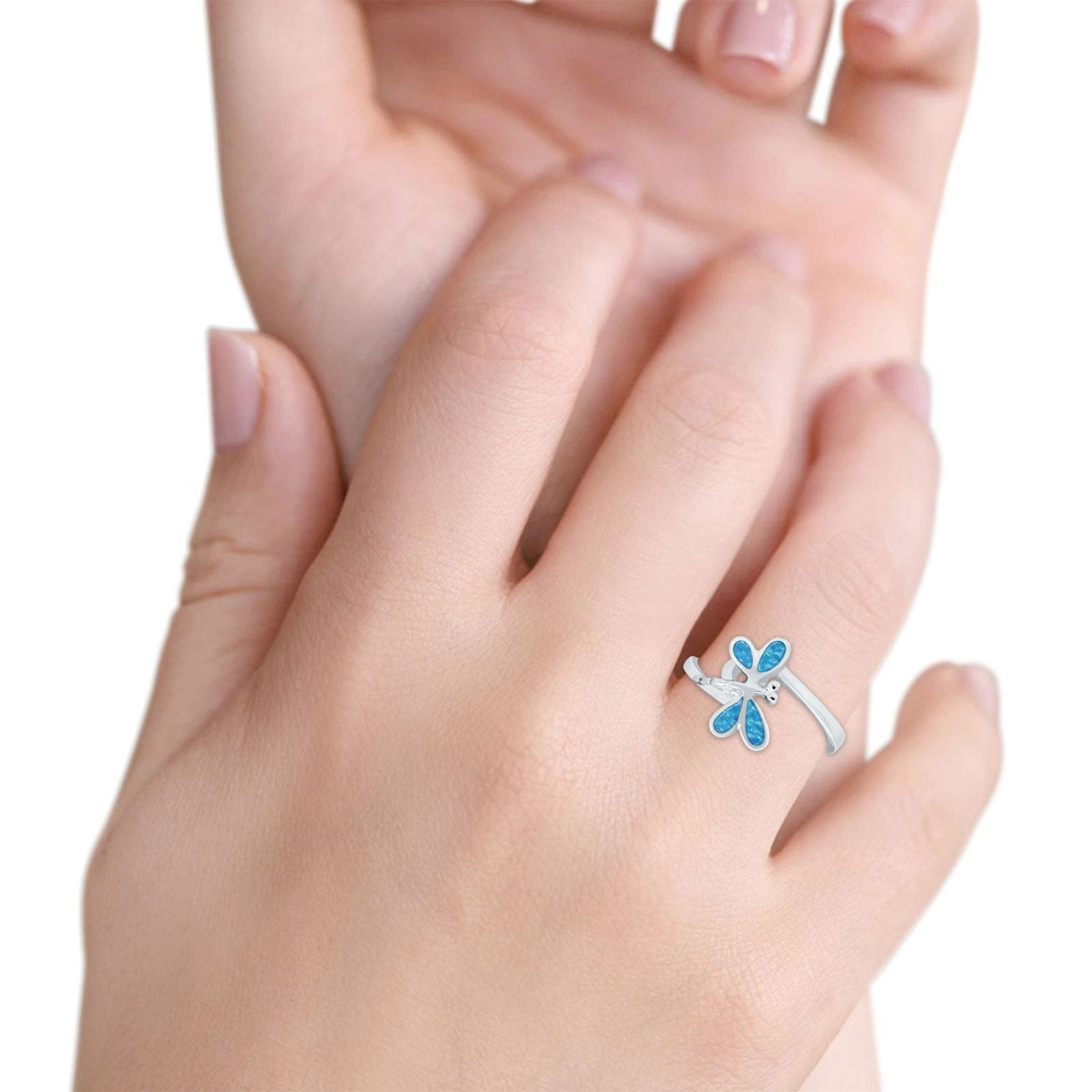 Dragonfly Band Ring Simulated Cubic Zirconia 925 Sterling Silver