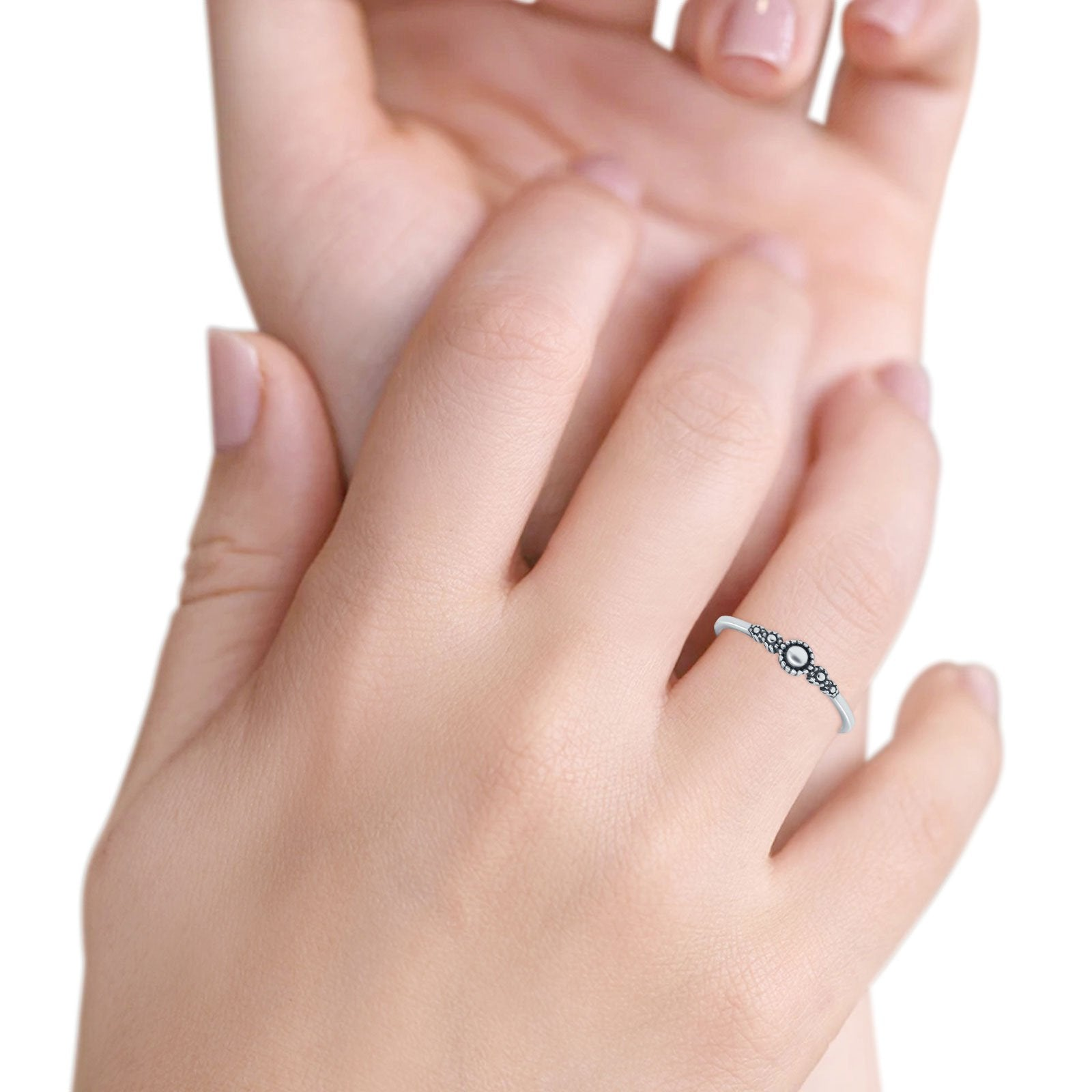 Petite Dainty Band Plain Ring Oxidized 925 Sterling Silver