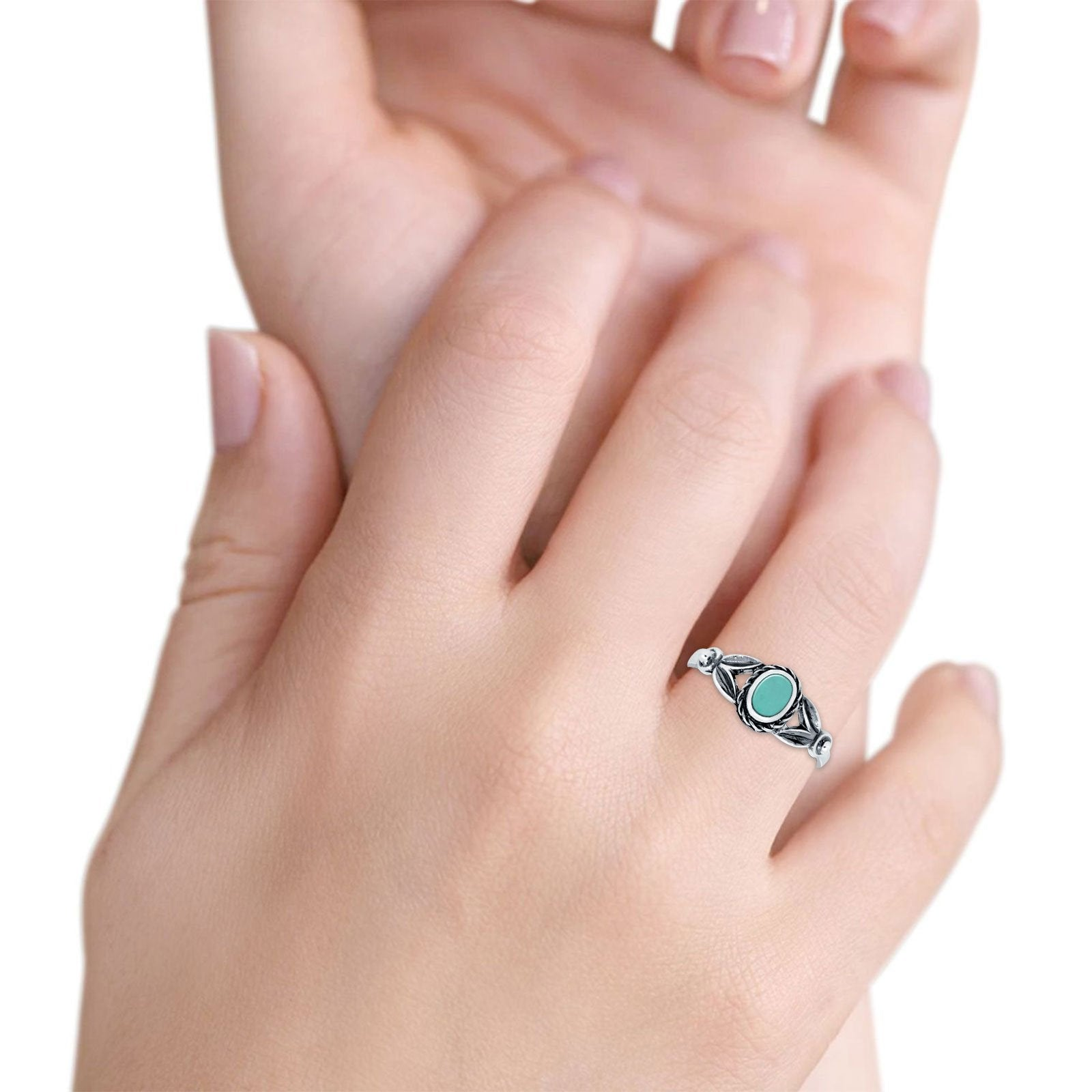 Art Deco Vintage Oval Simulated Turquoise Cubic Zirconia Ring 925 Sterling Silver