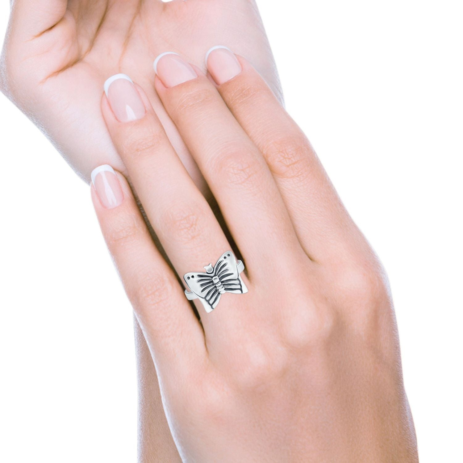 Sterling Silver Petite Dainty Butterfly Ring Band Round 925 Sterling Silver