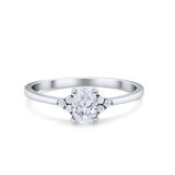 Oval Cut Wedding Ring Round Simulated Cubic Zirconia 925 Sterling Silver
