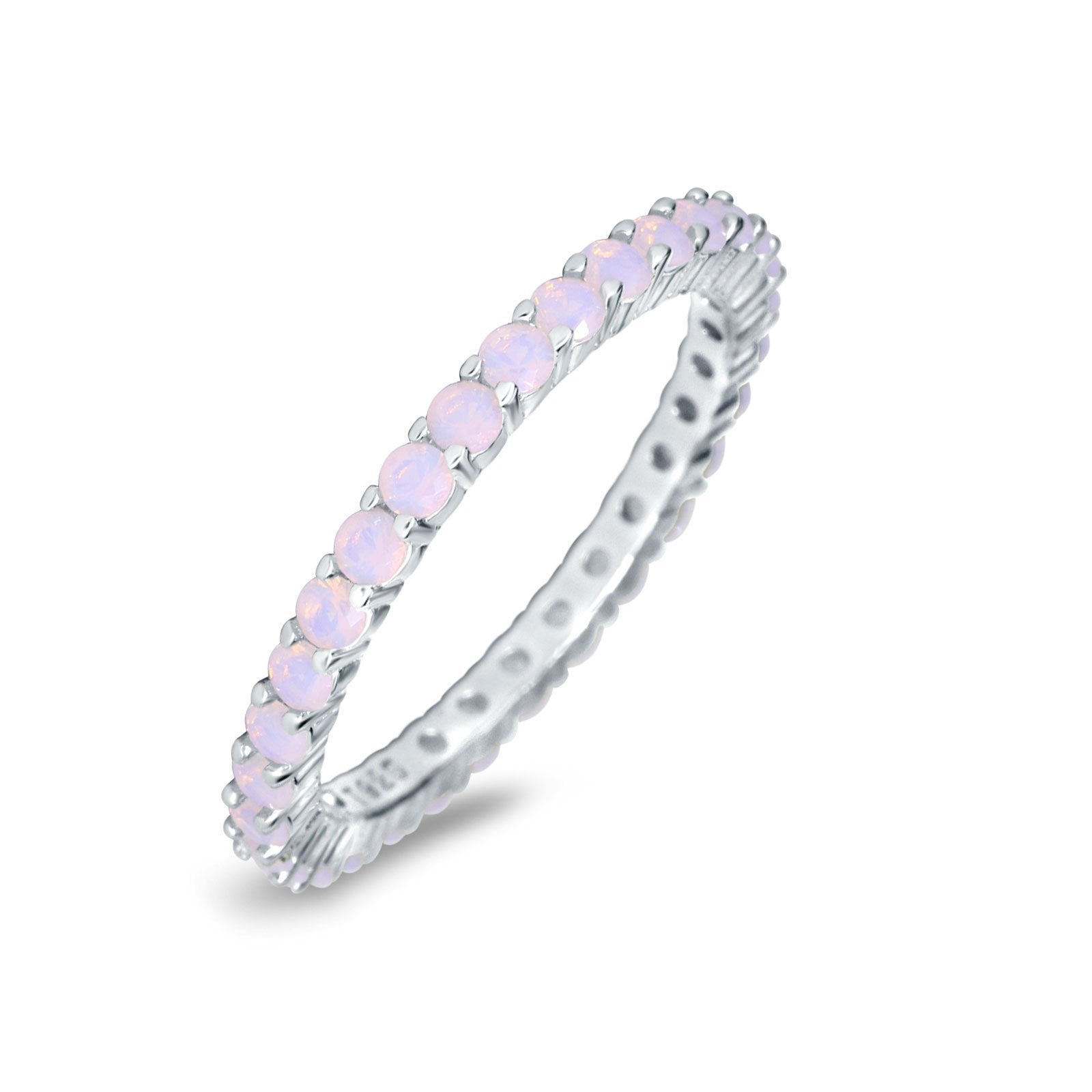 Full Eternity Stackable Engagement Ring Lab Created Opal 925 Sterling Silver
