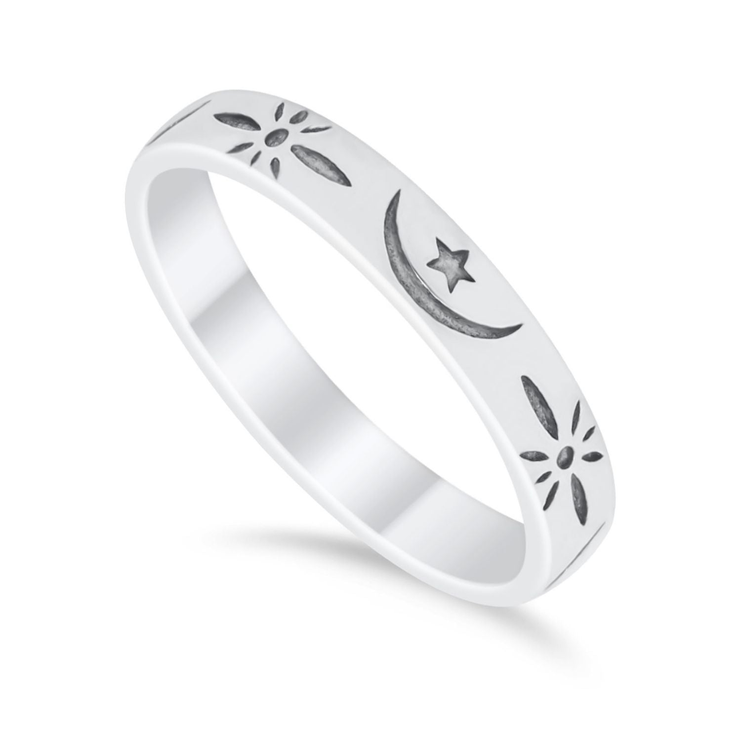 Moon Star Thumb Ring Wedding Bands Star Moon Band Round 925 Sterling Silver