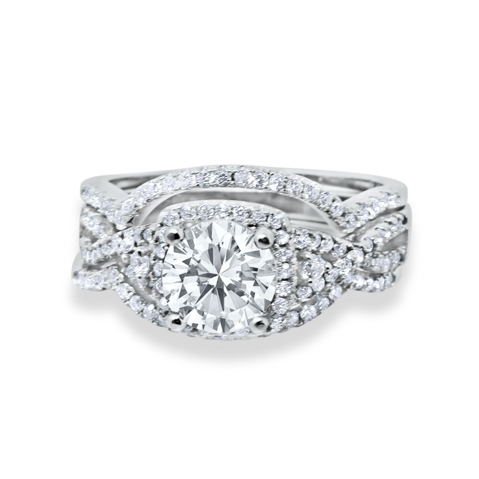 Halo Wedding Trio Piece Ring Simulated Cubic Zirconia 925 Sterling Silver