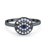 Evil Eye Ring Round Simulated Sapphire Cubic Zirconia 925 Sterling Silver