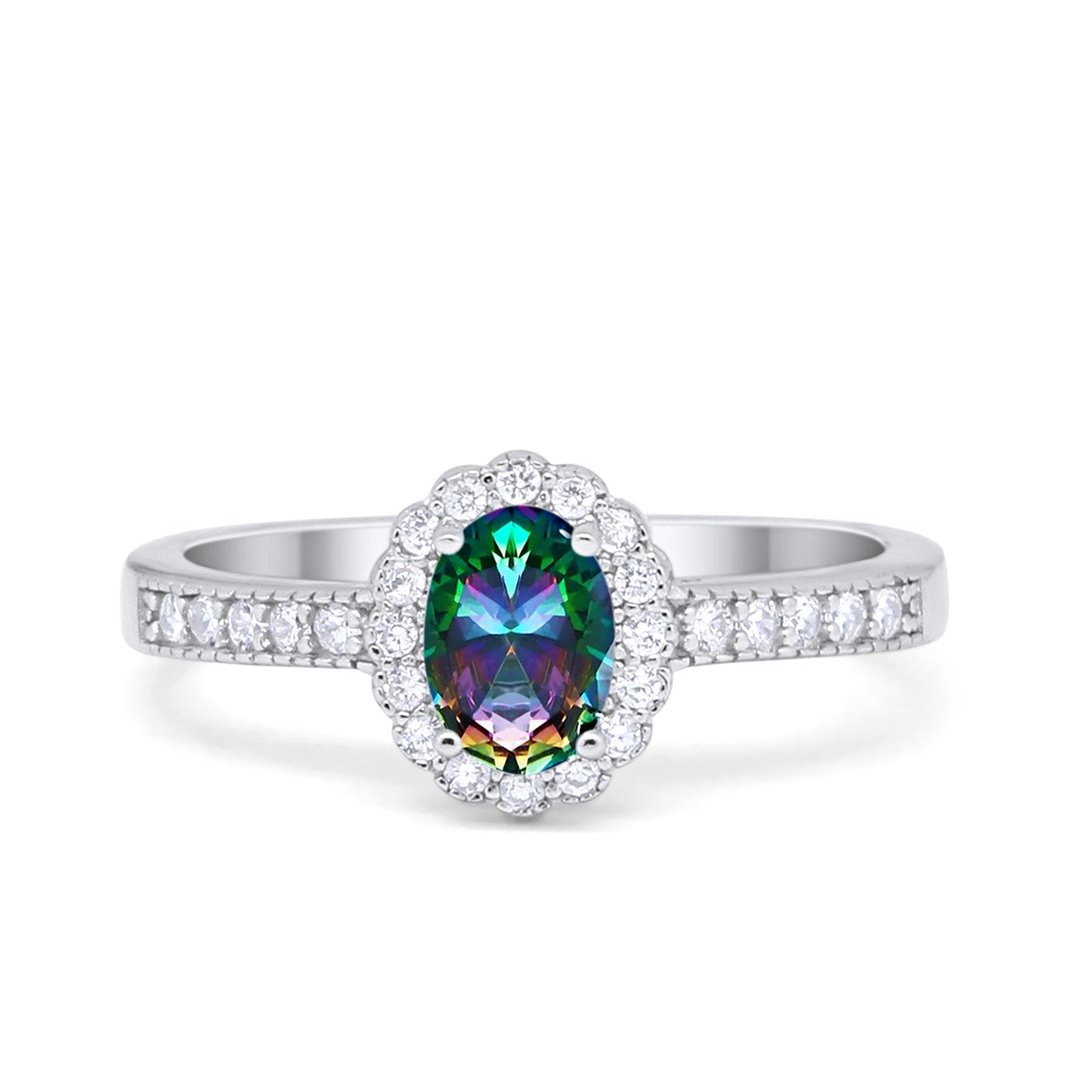 Halo Art Deco Floral Wedding Engagement Ring Oval Cubic Zirconia 925 Sterling Silver Choose Color