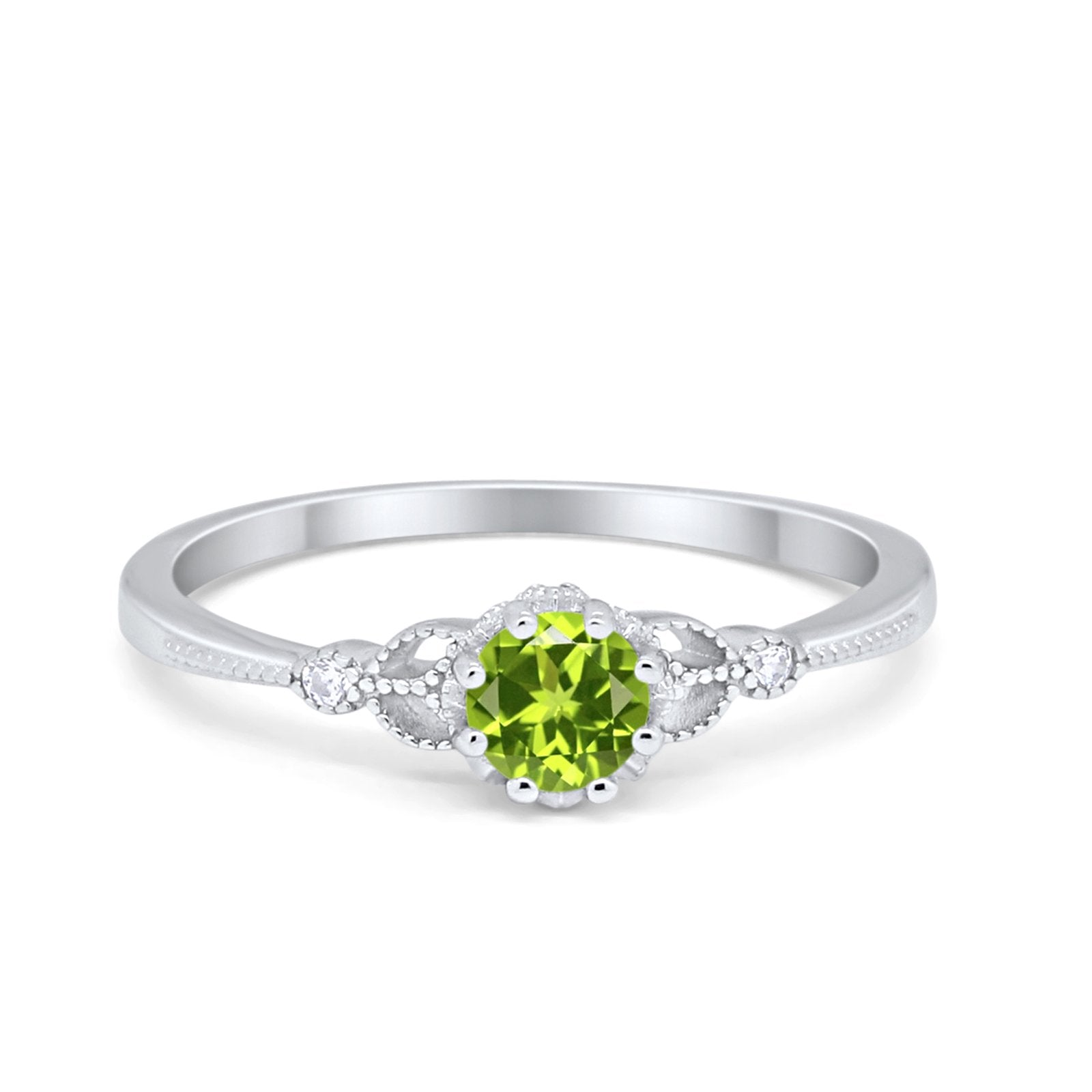 Solitaire Art Deco Wedding Engagement Ring Round Cubic Zirconia 925 Sterling Silver Choose Color