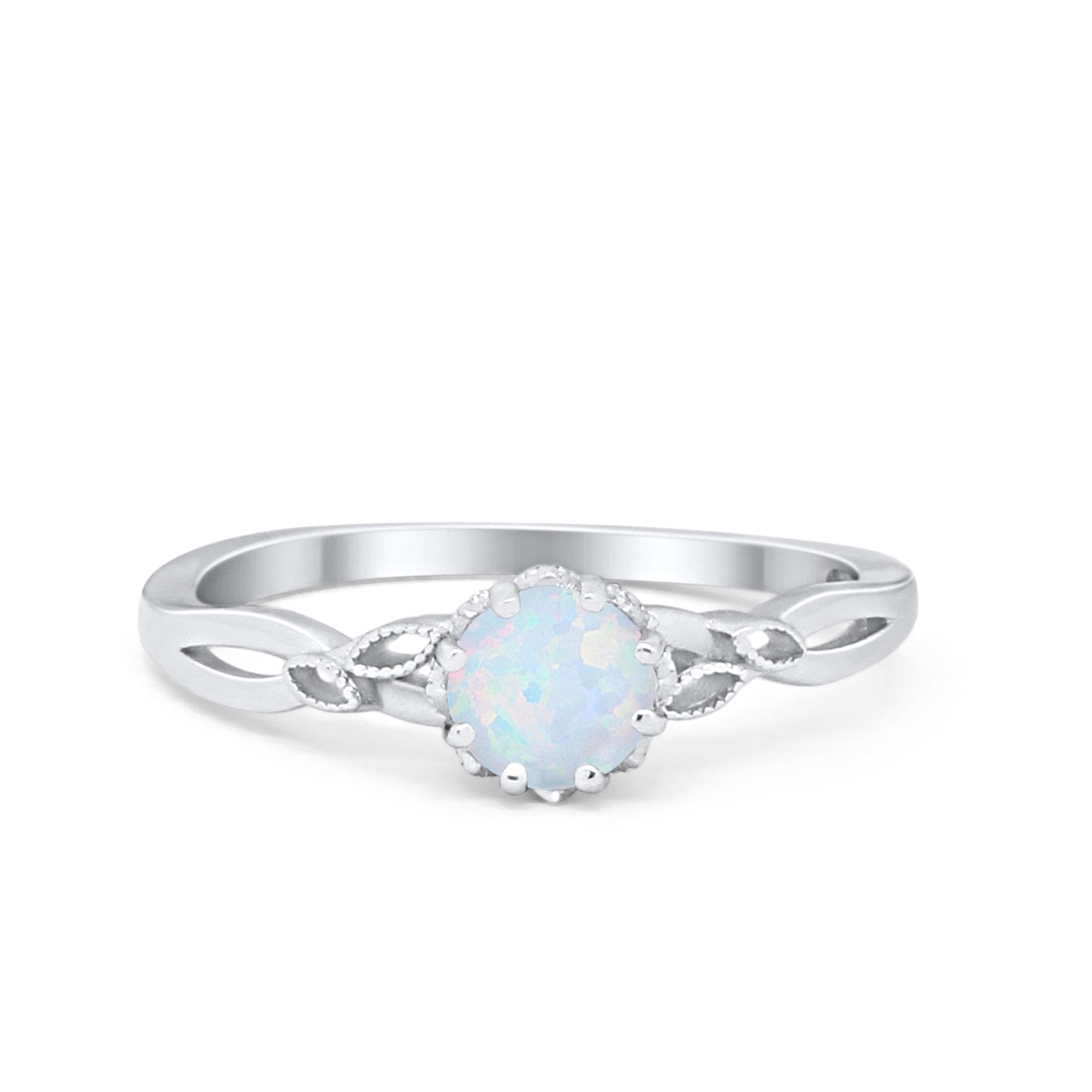 Art Deco Wedding Engagement Ring Round Cubic Zirconia 925 Sterling Silver Choose Color