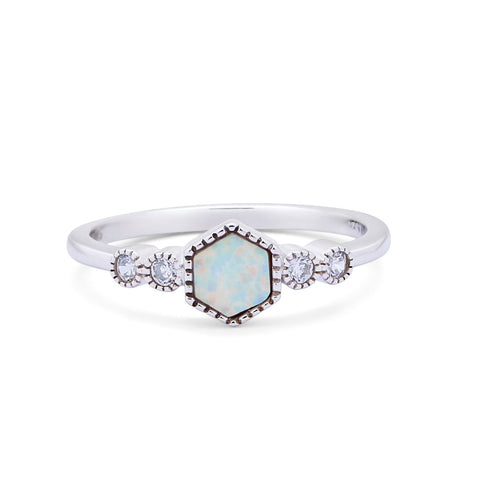 Petite Dainty Ring Created Opal Round Cubic Zirconia 925 Sterling Silver