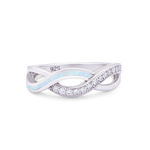 Created Opal Infinity Twisted Ring Round CZ 925 Sterling Silver