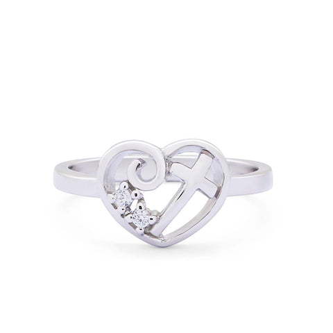 Heart Cross Ring Round Cubic Zirconia 925 Sterling Silver