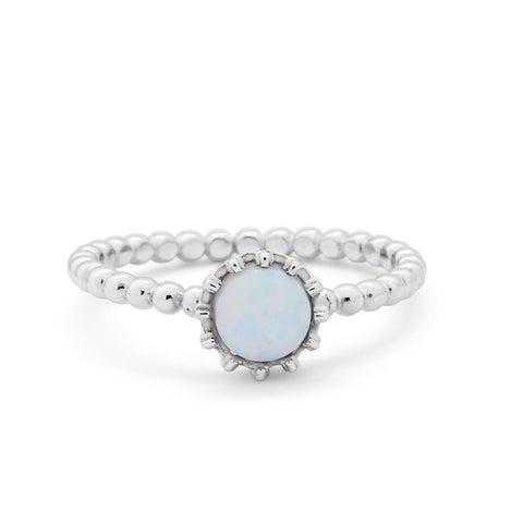 Crown Design Wedding Ring Round White Opal 925 Sterling Silver