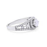 Wedding Ring Round Simulated Cubic Zirconia Dragonfly Accent 925 Sterling Silver