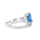 Halo Radiant Cut Wedding Engagement Ring Band Two Piece Bridal Set Cubic Zirconia 925 Sterling Silver