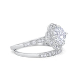 Art Deco Halo Wedding Piece Ring Simulated Cubic Zirconia 925 Sterling Silver