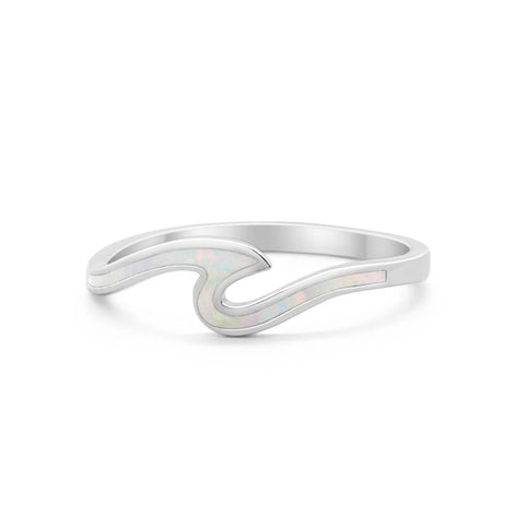 Wave Ring Band Simulated Opal 925 Sterling Silver Wave Ocean Summer
