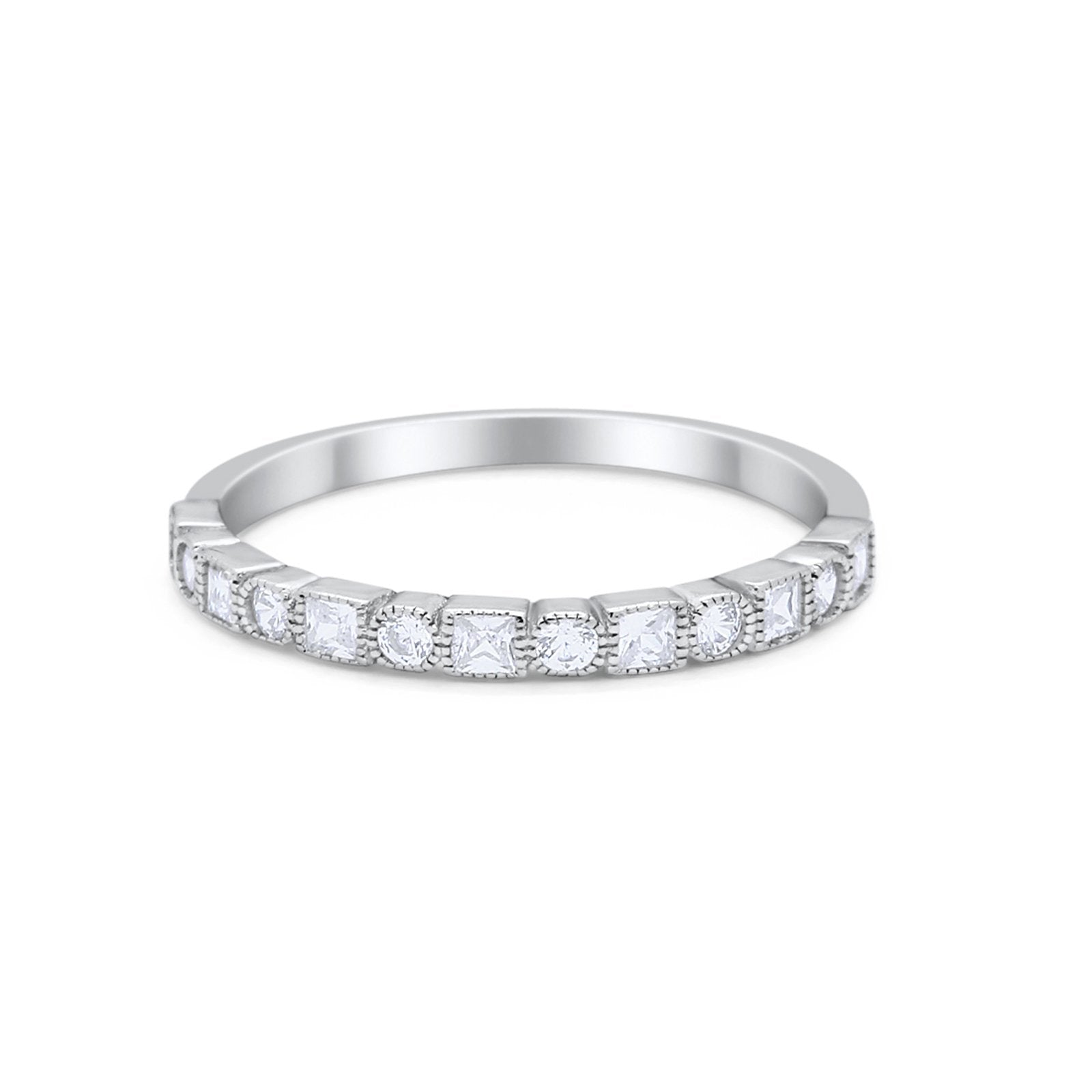 Half Eternity Art Deco Wedding Band for Ring Round 925 Sterling Silver