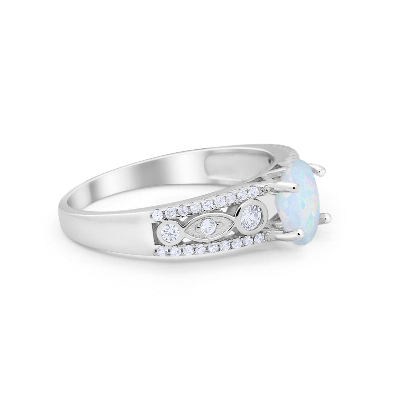 Art Deco Wedding Ring Oval Simulated Cubic Zirconia 925 Sterling Silver