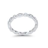 Art Deco Full Eternity Stackable Wedding Band Ring Round 925 Sterling Silver