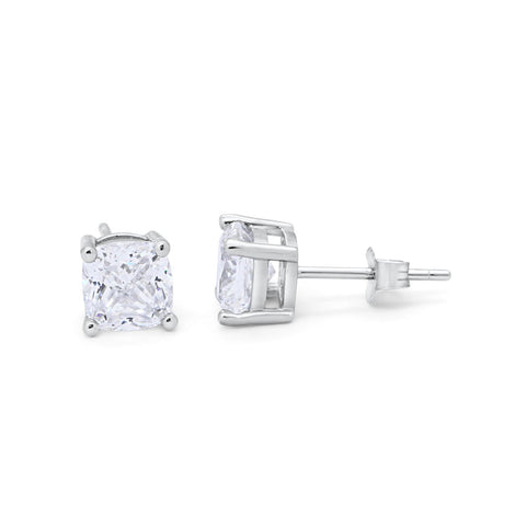 Solitaire Cushion Cubic Zirconia Stud Earrings Wedding Engagement Bridal 925 Sterling Silver