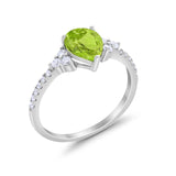 Teardrop Pear Wedding Ring Simulated Cubic Zirconia 925 Sterling Silver