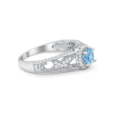 Vintage Style Halo Wedding Ring Simulated Cubic Zirconia 925 Sterling Silver