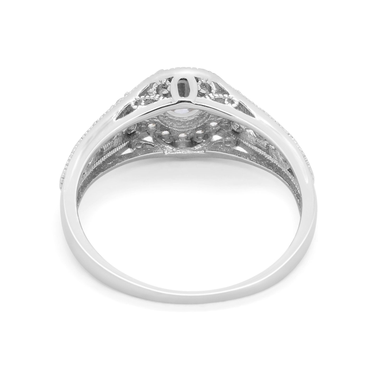 Vintage Style Engagement Ring Halo Simulated Cubic Zirconia 925 Sterling Silver