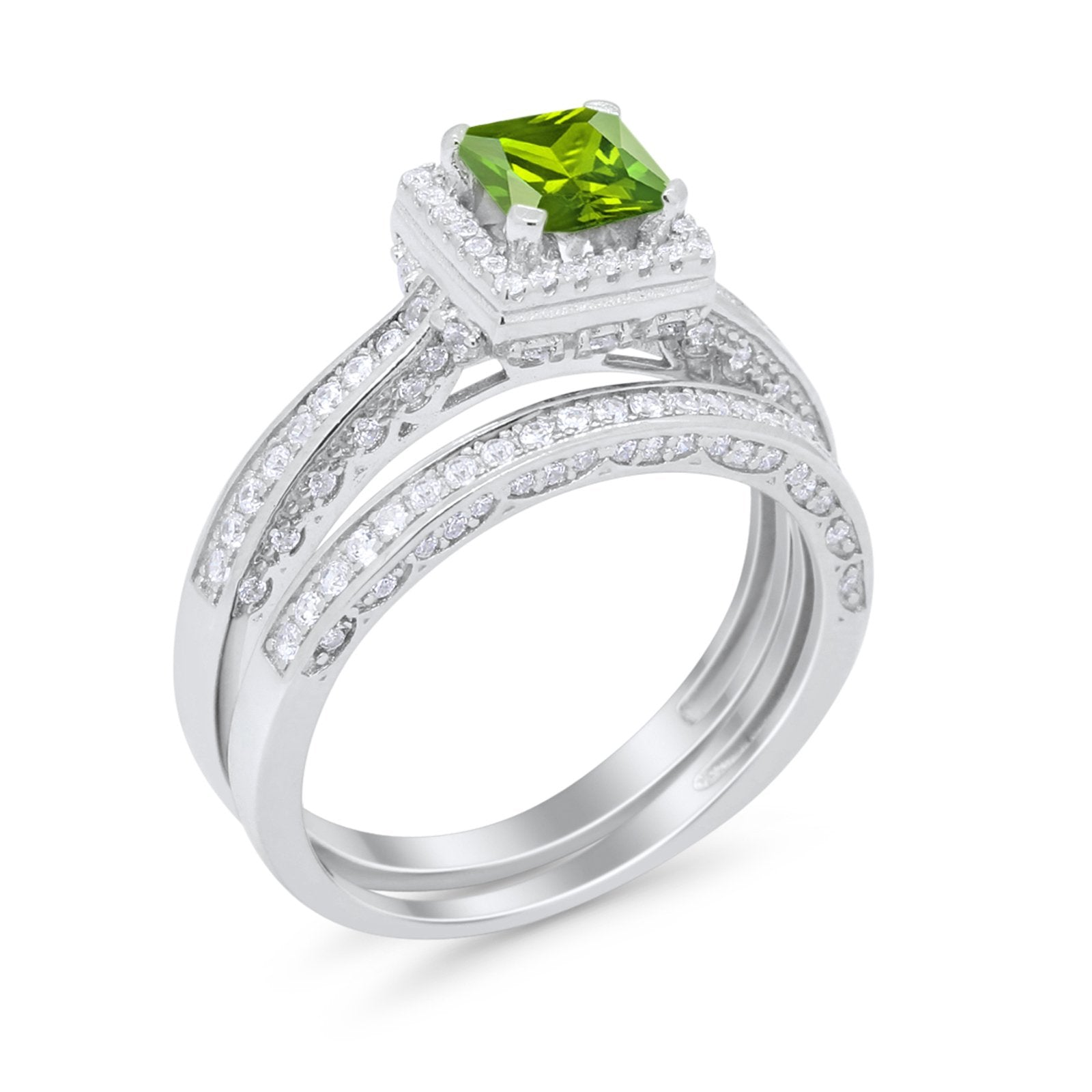 Halo Princess Cut Art Deco Wedding Bridal Set Ring Round Cubic Zirconia 925 Sterling Silver