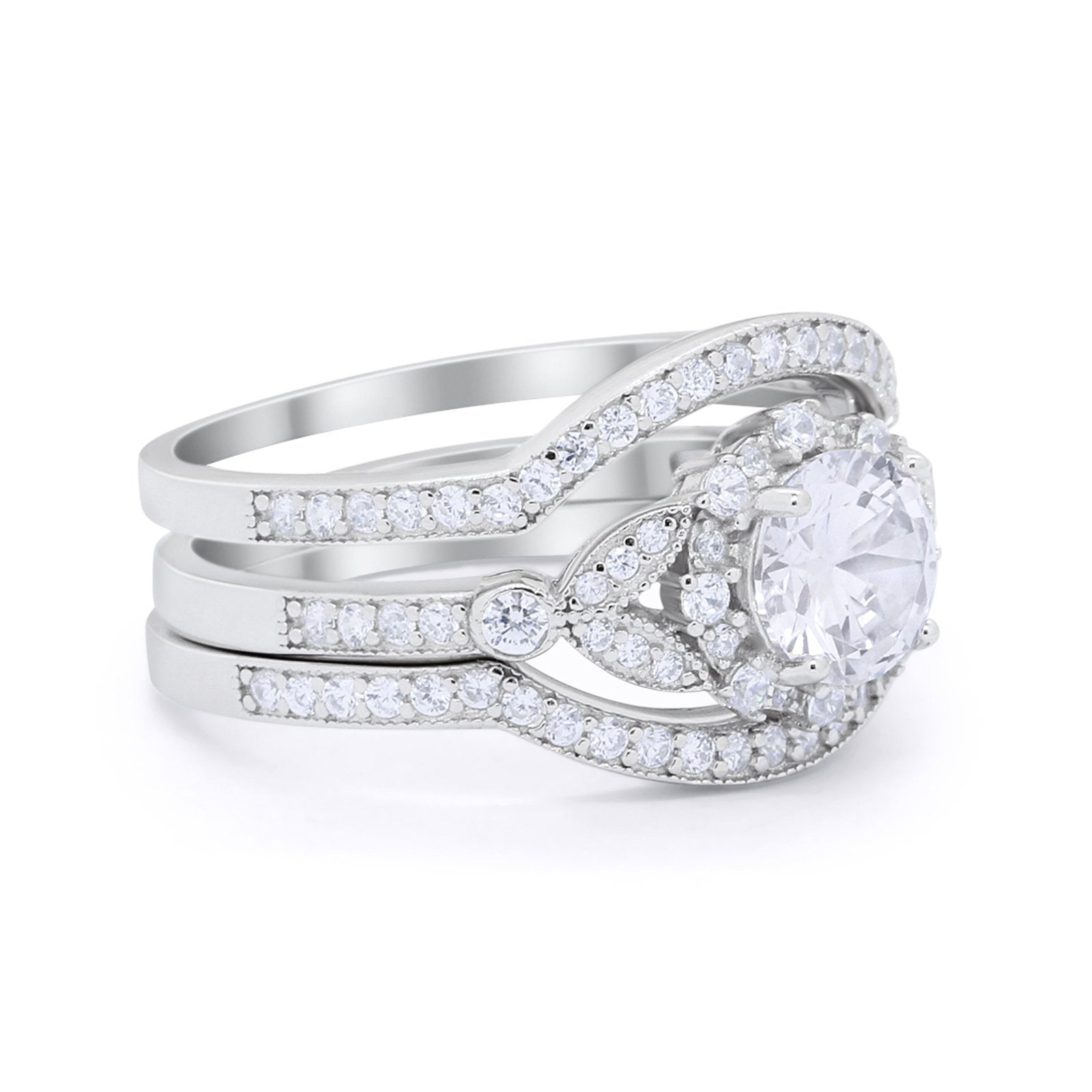 Art Deco Wedding Ring Band Bridal Set Three Piece Round Cubic Zirconia 925 Sterling Silver