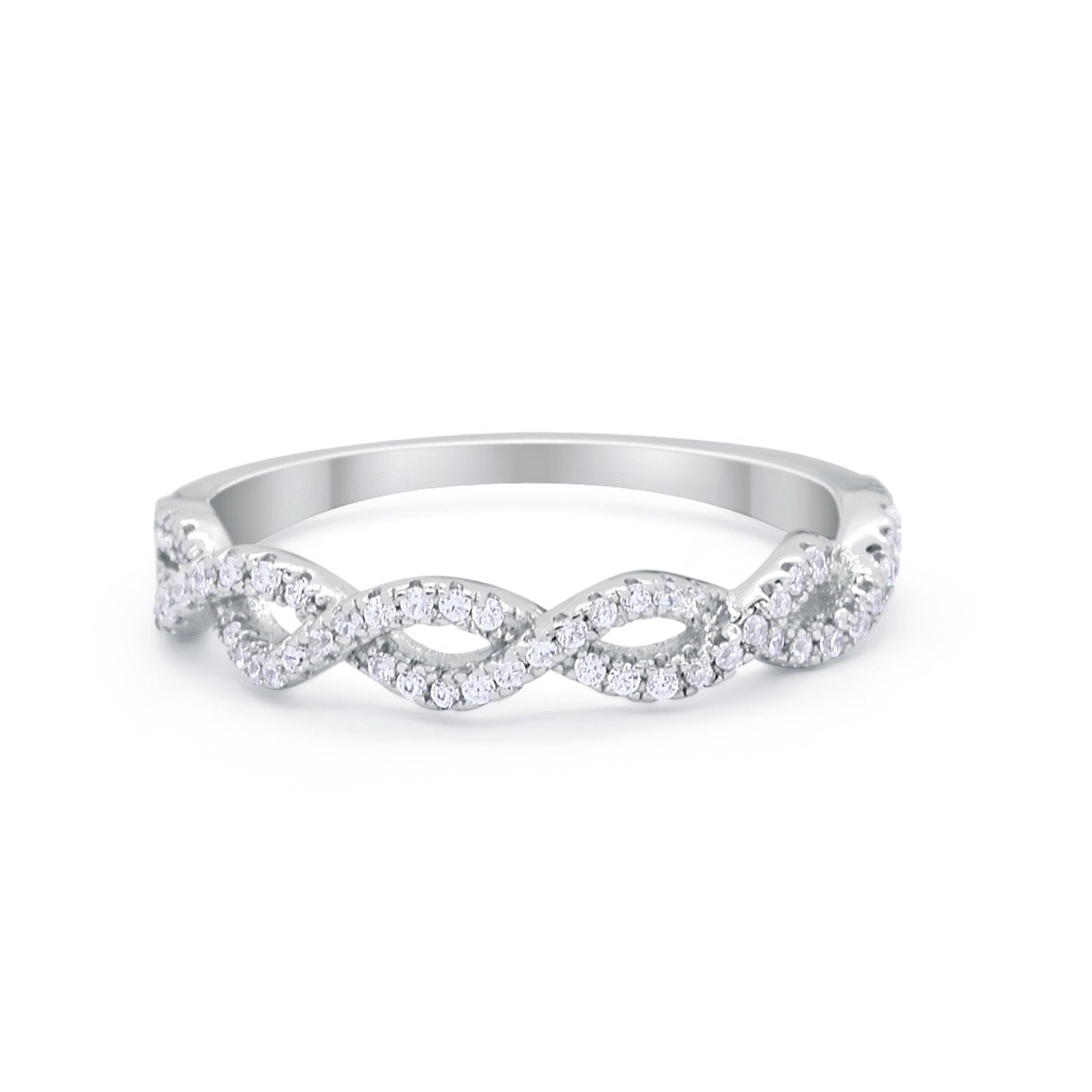 Blue Apple Co Half Eternity Infinity Twisted Band Ring Round Cubic Zirconia 925 Sterling Silver