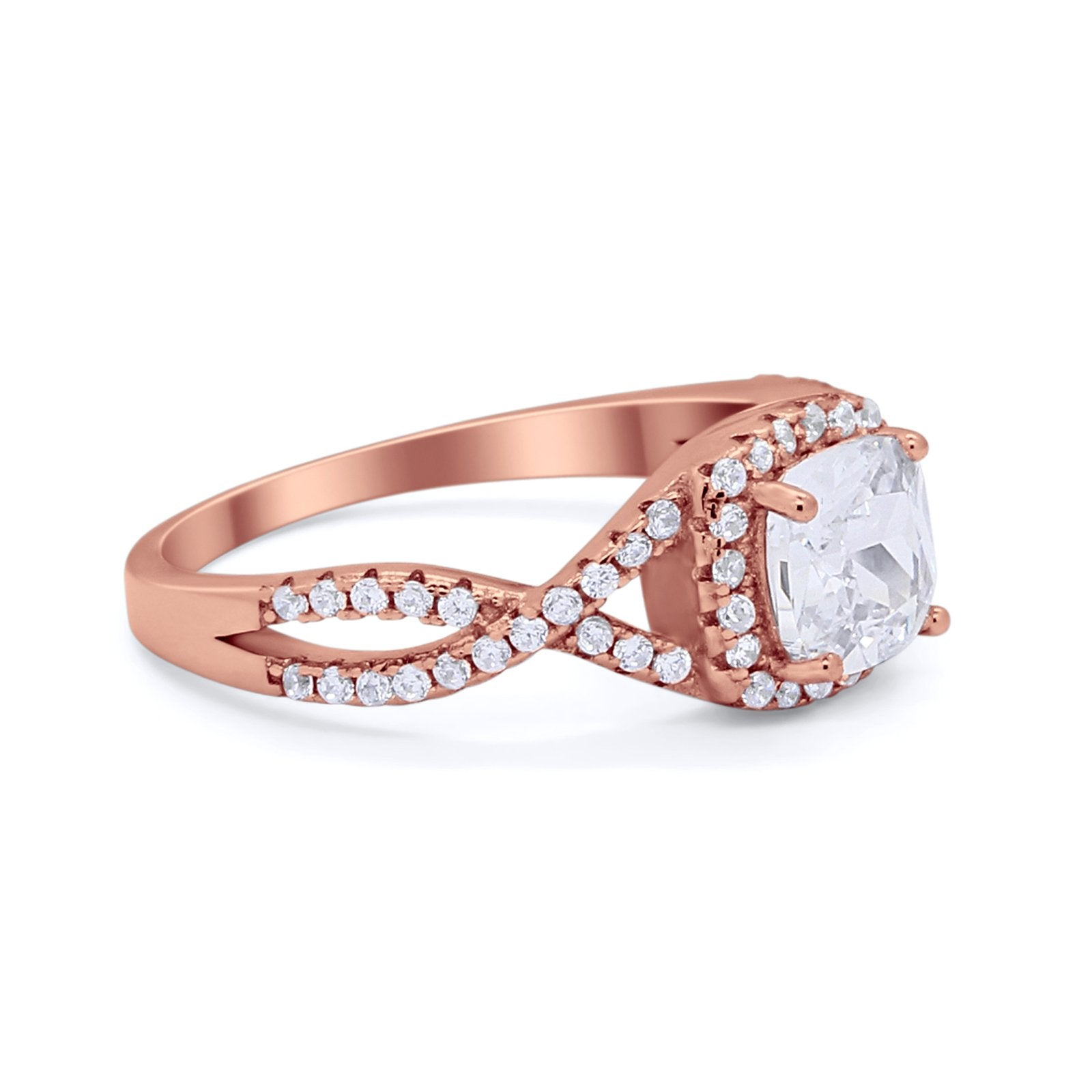 Art Deco Halo Cushion Infinity Shank Wedding Ring Round Cubic Zirconia 925 Sterling Silver