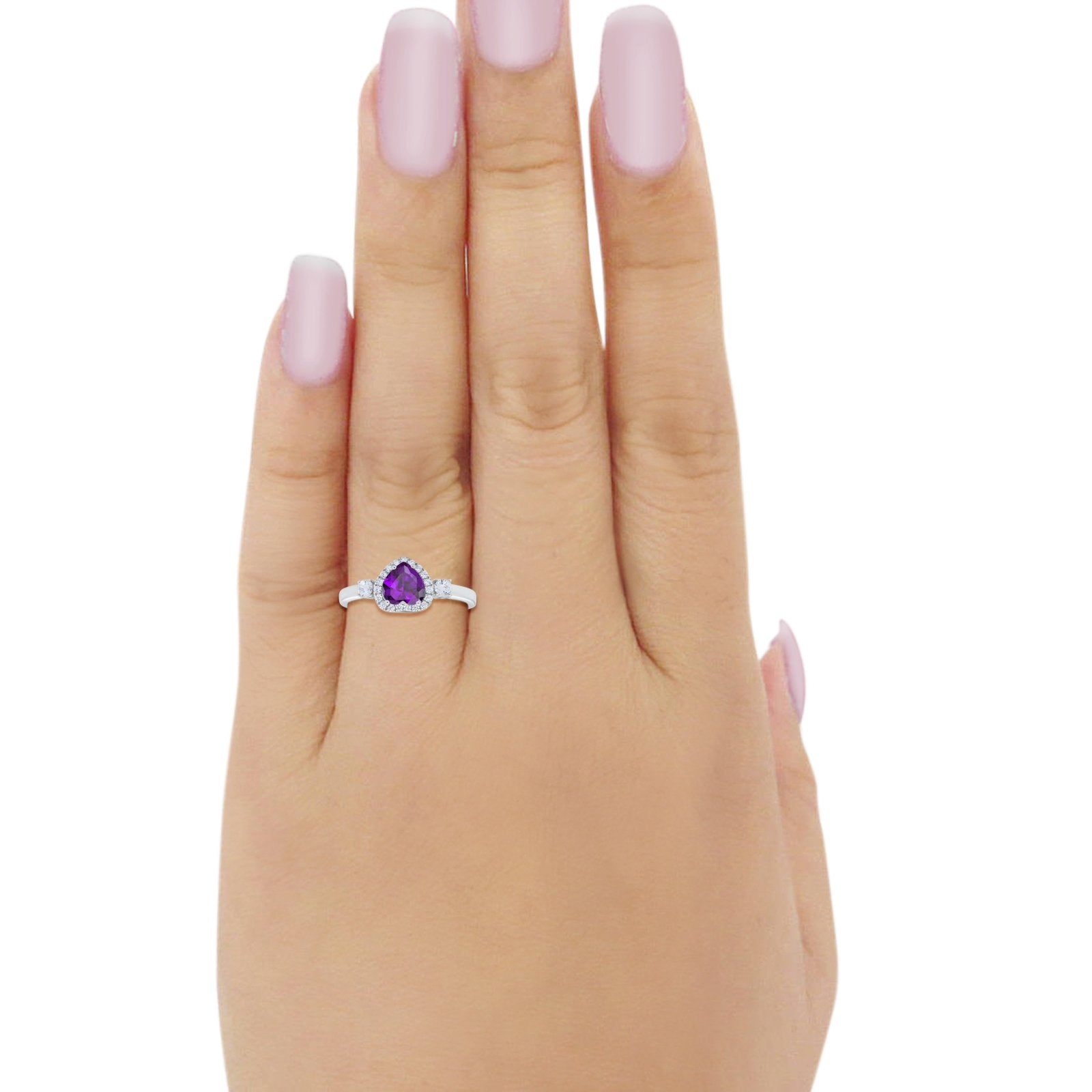 Halo Three Stone Heart Promise Ring Round Cubic Zirconia 925 Sterling Silver