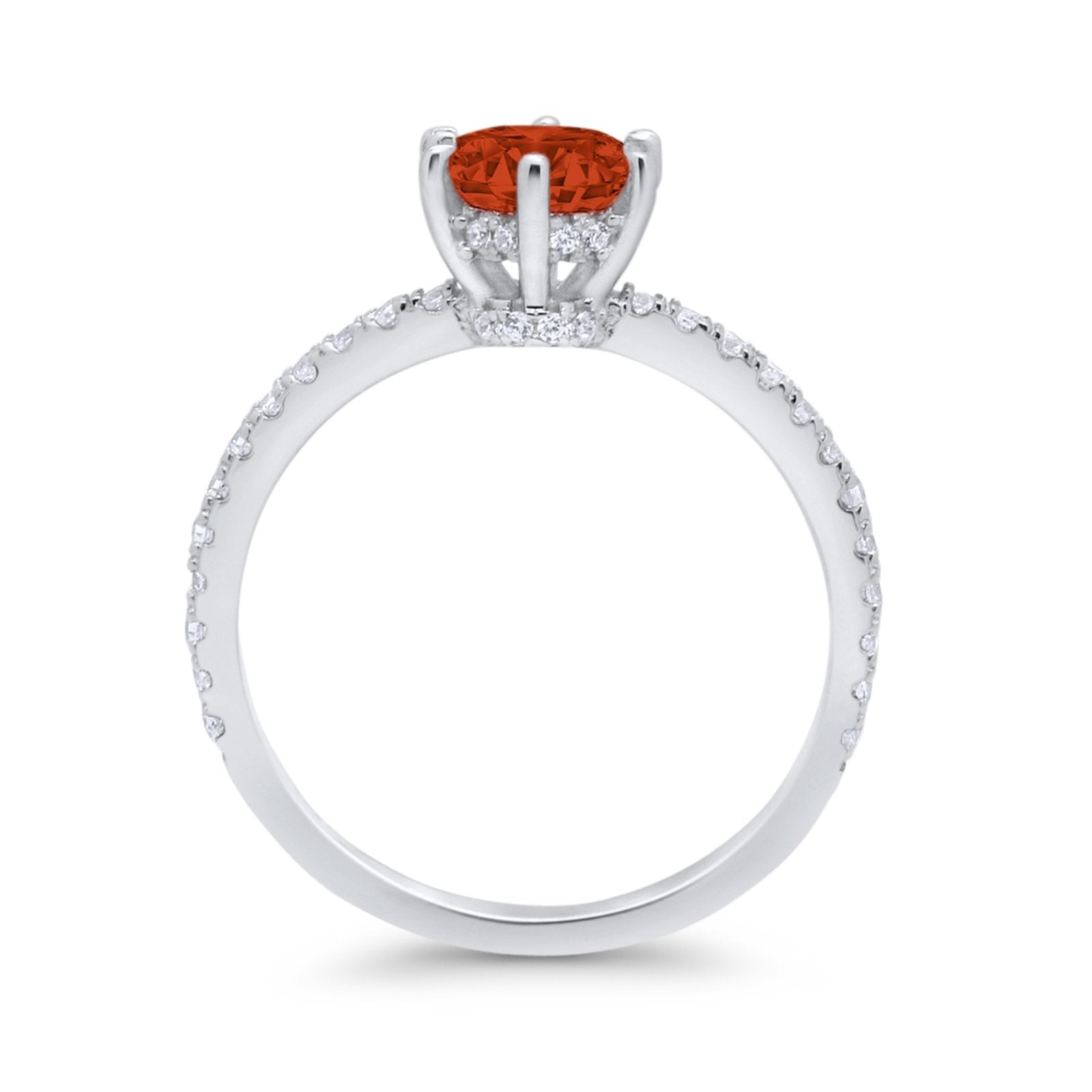 Art Deco Solitaire Accent Dazzling Wedding Ring Round Cubic Zirconia 925 Sterling Silver