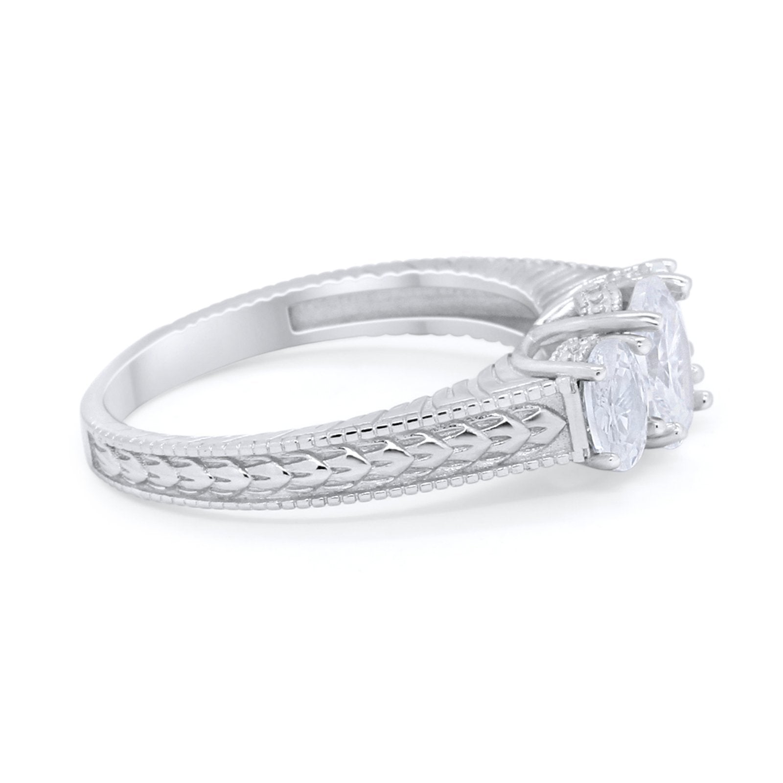 Art Deco Oval Three Stone Wedding Bridal Ring Round Cubic Zirconia 925 Sterling Silver