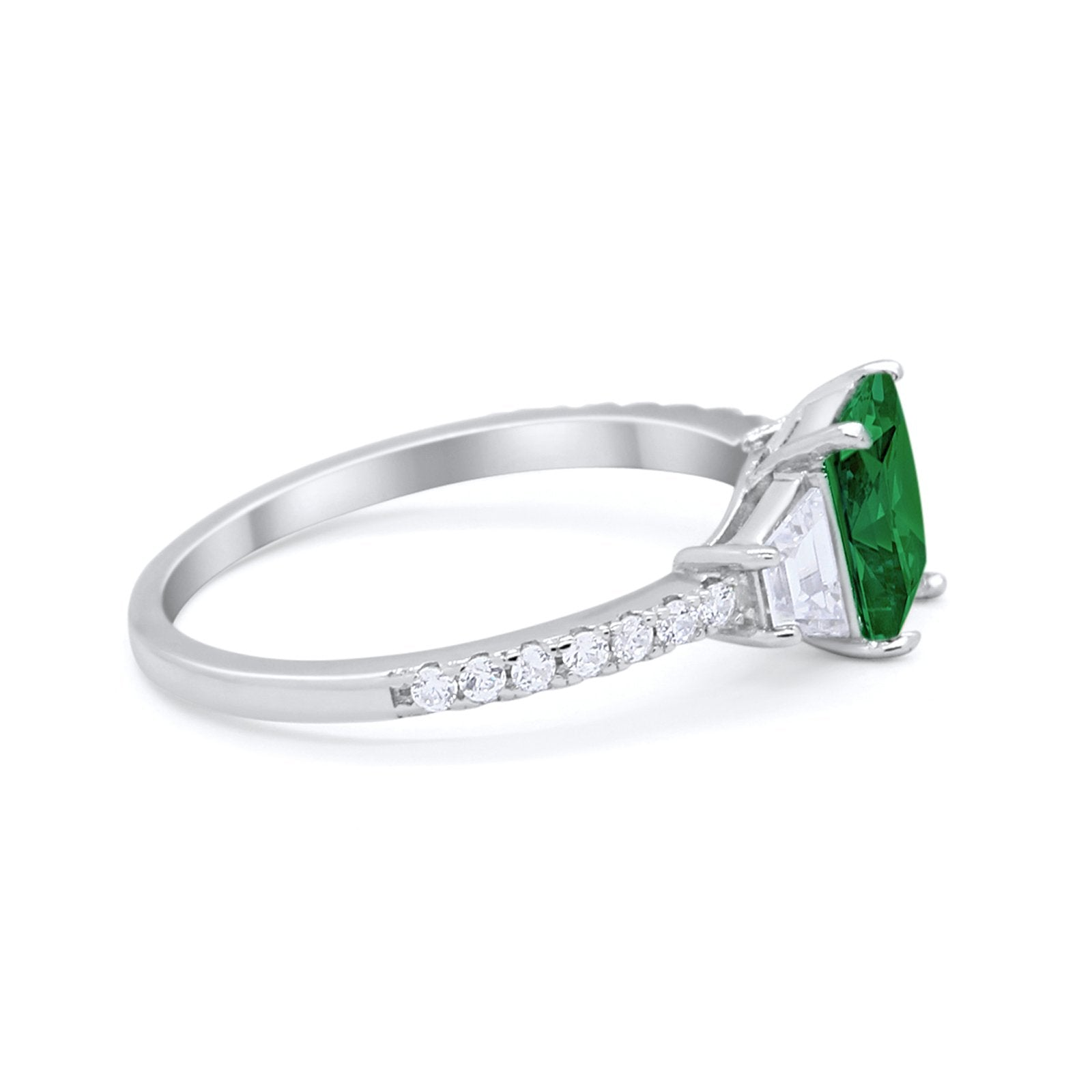 Three Stone Wedding Ring Emerald Cut Round Cubic Zirconia 925 Sterling Silver