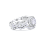 Two Piece Wedding Bridal Ring Simulated Cubic Zirconia 925 Sterling Silver