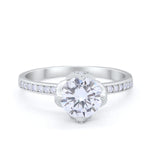 Art Deco Floral Wedding Bridal Ring Round Cubic Zirconia 925 Sterling Silver