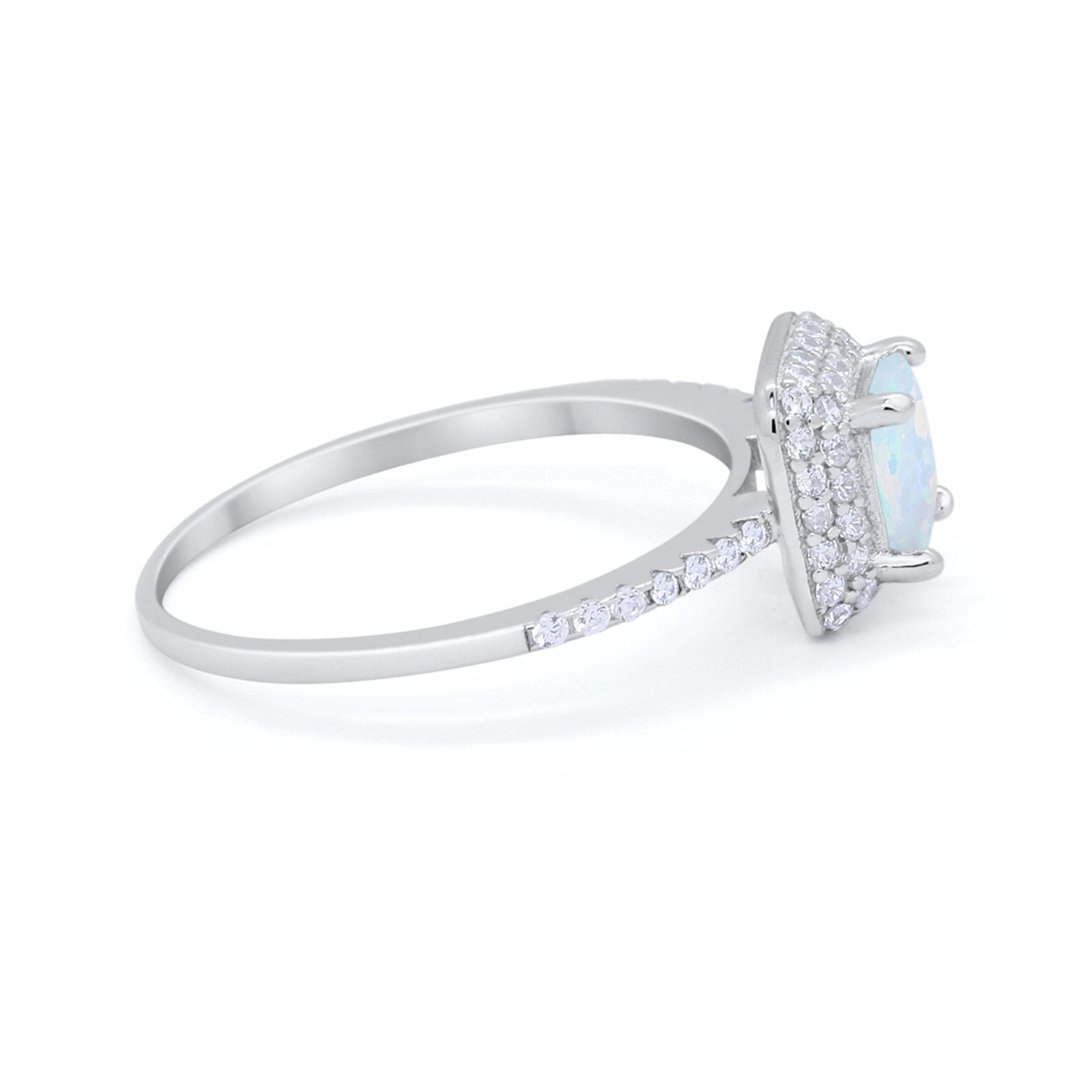 Halo Princess Cut Wedding Engagement Ring Round Cubic Zirconia 925 Sterling Silver