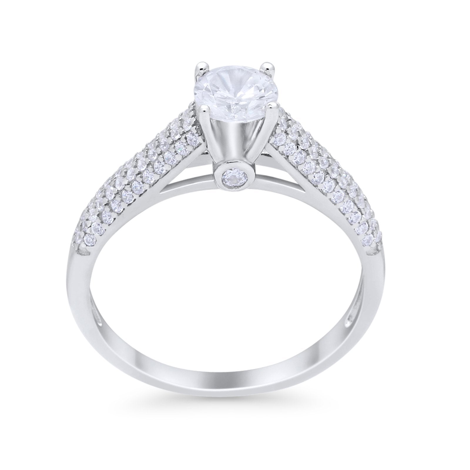Vintage Style Art Deco Wedding Engagement Ring Round Cubic Zirconia 925 Sterling Silver