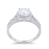 Art Deco Vintage Style Wedding Ring Simulated Cubic Zirconia 925 Sterling Silver