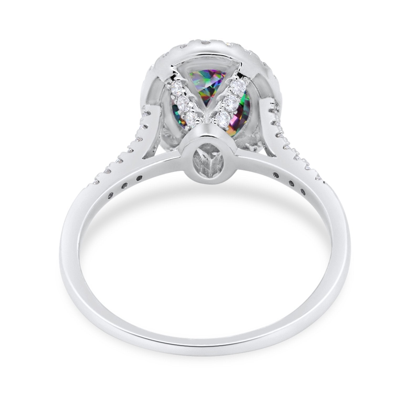 Halo Art Deco Oval Wedding Engagement Bridal Ring Round Cubic Zirconia 925 Sterling Silver