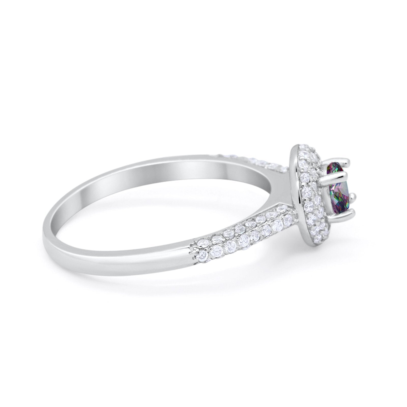 Vintage Style Halo Wedding Engagement Bridal Ring Round Cubic Zirconia 925 Sterling Silver