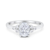 Oval Art Deco Wedding Engagement Ring Round Simulated Cubic Zirconia 925 Sterling Silver