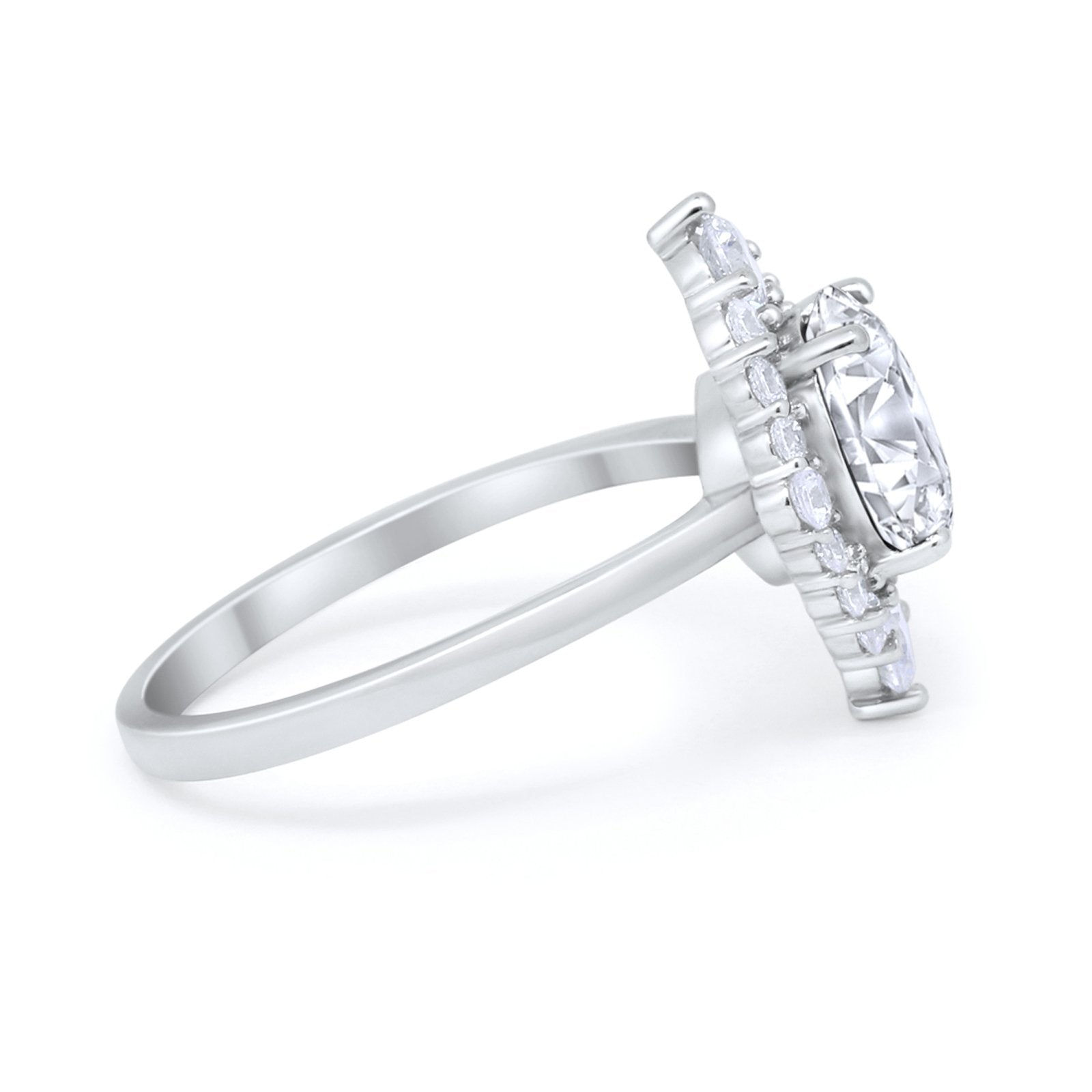 Fancy Design Art Deco Wedding Engagement Ring Round Cubic Zirconia 925 Sterling Silver