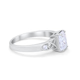 Wedding Ring Emerald Cut Round Simulated Cubic Zirconia 925 Sterling Silver