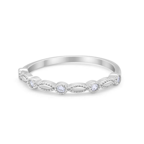 Half Eternity Stacking Art Deco Band Ring Round CZ 925 Sterling Silver
