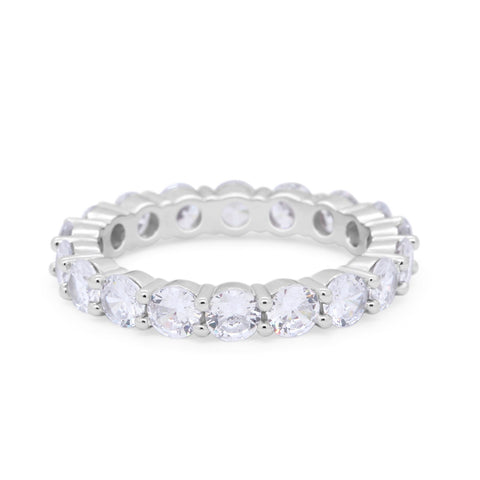 4mm Alternating Wedding Band Ring Round Cubic Zirconia 925 Sterling Silver