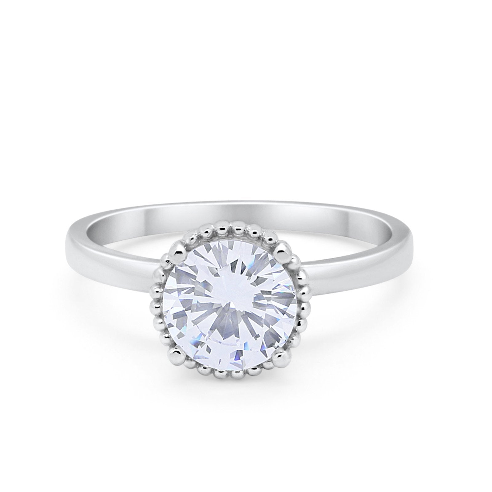 Solitaire Wedding Engagement Art Deco Bridal Ring Round Cubic Zirconia 925 Sterling Silver