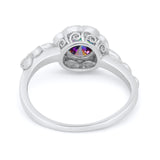 Art Deco Wedding Engagement Ring Simulated Cubic Zirconia 925 Sterling Silver