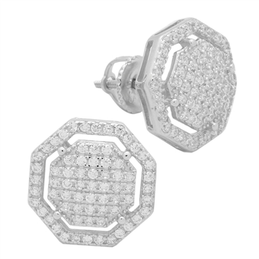 eb4a8be5e 12.5mm Octagon Hip Hop Stud Earrings Men Women Unisex Pave Ice Cubic  Zirconia Screw Back
